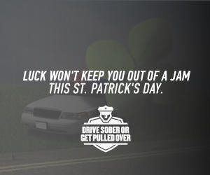 Drive Sober this St. Patrick's Day message
