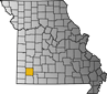 Map showing Lawrence County location within the state of Missouri